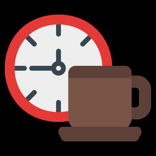 icono de un reloj y una tasa de cafe